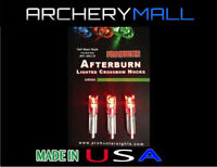 3 RED AFTERBURN CROSSBOW ARROWS LIGHTED NOCKS HALF MOON .297-302 I.D.