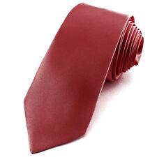 CRAVATE SLIM 5 cm pour homme en satin Rouge sombre - Necktie Necktie Red skinny