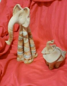 Handmade Terracotta Clay  Pottery Elephant 2 piece set