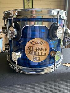 PDP / DW Vintage Blue Onyx Pearl Design 8x10 Pacific CX Series Mounted Tom