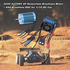 3650 4370KV 4P Sensorless Brushless Motor w/ 45A ESC for 1/10 RC Car New Arrival