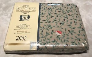 """Vintage NOS Select Edition At Home Twin Fitted Sheet Floral Print Fits 39"""" x 75"""""""