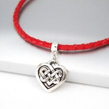 Silver Alloy Irish Celtic Knot Love Heart Pendant Red Braided Leather Necklace