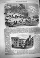 Original Old Antique Print 1861 War America Fight Ball Potomac Foreign Office