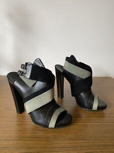 Belenciaga High Block Heels Black Leather Gray Suede Mule Sandals Shoes EU 40