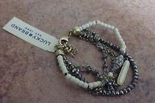 "Lucky Brand Multi Strand Silver White beads Goltone bracelet 7.5""Retail : $39.00"