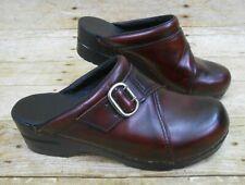 DANSKO Leather Mules Women's Sz 39, US 8.5-9 Vintage Red Buckle Open Back Clogs