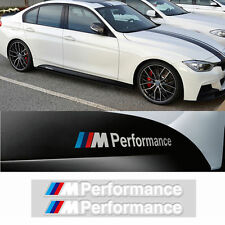 2 Pcs White M Color Performance Sports Decal Side Auto Car Badge Sticker For BMW