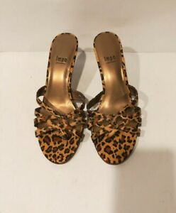 Impo Womens Satin Leopard Print Strappy Medium Heels Sandal Shoes Size 8