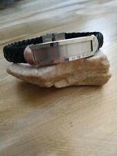 Stainless steel bar  black braided leather bracelet