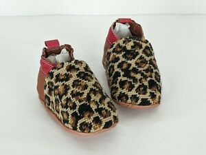 By Paige needlepoint Leopard Print baby slipper sz 0 to 6 months