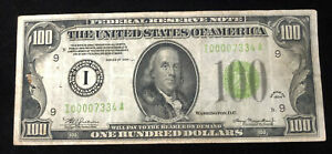1934 US $100 FEDERAL RESERVE NOTE - Minneapolis