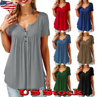Women Pleated V Neck Swing Tunic Blouse Button Loose Tee Summer Casual Shirt Top