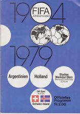 Programme / Programma Argentina v Holland / Switzerland v Iceland 22-05-1979