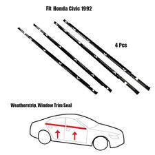 4x Weatherstrip ASSY Window Trim Seal Fit Honda Civic 1992 Chrome Set