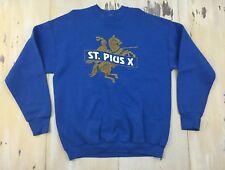 ST PIUS X - Vtg 80s-90s Catholic High School Blue 50/50 Sweatshirt, Adult XL