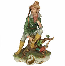 "Large 13"" Capodimonte Figural Group of Hunter & Pheasant by Tyche Tosca"