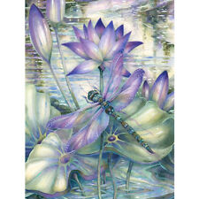 EP_ Dragonfly on Lotus Full Diamond Painting DIY Handmade Art Wall Decoration Ca