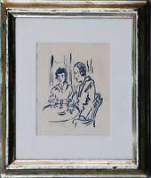 Franz Heckendorf 1888-1962: Paar im Café Tusche signiert 1920er/1930er Jahre