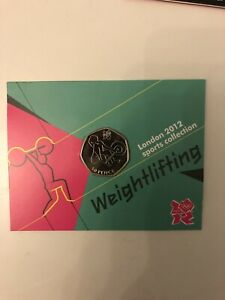 2012 London Olympic Weightlifting  50p Coin in a Sealed Capsule Mint Condition