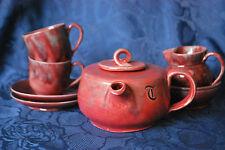ARTS & CRAFTS BARON BARNSTAPLE POTTERY - TEA FOR TWO - TEAPOT/SAUCER