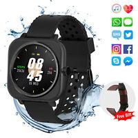 Bluetooth Smart Watch Waterproof Heart Rate Monitor Fitness Tracker Touch Screen
