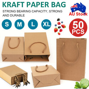 50 x Bulk Kraft Paper Bags Gift Shopping Carry Craft Brown Bag with Handles AU