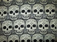 SKULL HEADS FANCY SKULLS WICKED BLACK WHITE COTTON FABRIC FQ
