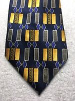 DESANTIS MENS TIE NAVY BLUE WITH GOLD GRAY BLUE 4 X 65 EXTRA LONG