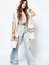 NWT Free People Desk Chair Kimono Stripe Boho Sweater Long Tunic Cardigan Duster