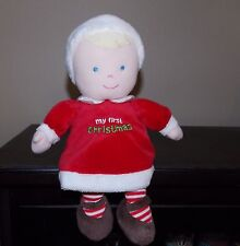 "CARTERS  Just One Year 11""  Plush MY FIRST CHRISTMAS Blonde  Pink Baby Blue EUC"