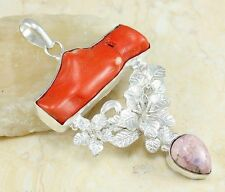 #15983 Antique Tree Coral & Rhodochrosite Sterling Pendant 65mm long 116.5cts