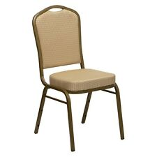 HERCULES Series Crown Back Stacking Banquet Chair w/Beige Patterned Fabric NEW