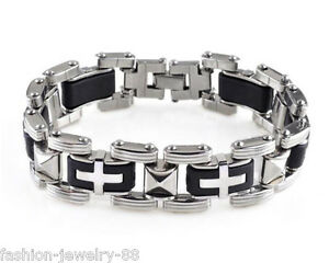 Fashion Mens Stainless Steel Rubber Bracelet Bangle Wristband Chain Cuff Jewelry