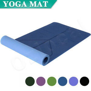 Premium TPE Yoga Mat Eco Friendly Exercise Fitness Gym Pilates Non Slip 8mm