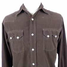 Lucky Brand Large Corduroy Pearl Snap Western Shirt Brown Long Sleeve Cotton