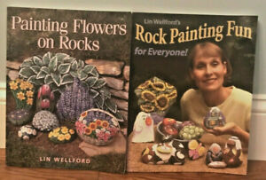 Painting Flowers on Rocks & Rock Painting Fun Books  Lot of 2    Lin Wellford