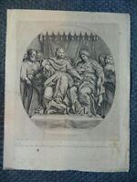 Gravur Salomon Auf Sein Thron Mit Der Königin Saba Der Dominiquin Gérard Audran