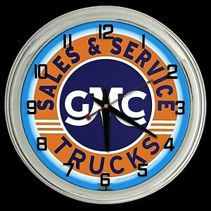 "16"" GMC Truck Sign Blue Neon Clock"