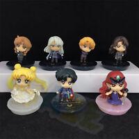 """7pcs/set Anime Sailor Moon Hino Rei Q Ver. PVC Figure Model 5.5cm/2"""" Collection"""