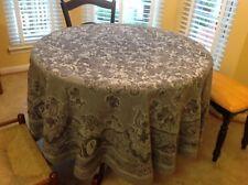 "Le Jacquard Francais Primrose Bordier 72"" Round Tablecloth Gray Black Paisley"