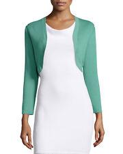 New Carolina Herrera pale green cashmere-silk blend fine knit bolero