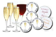"50 PERSONALISED WEDDING DRINKS TOKENS - ""One Free Drink""  any wording champagne"
