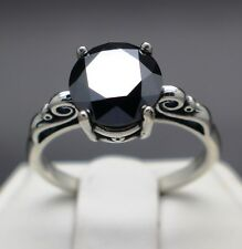 2.06cts 8.53mm Real Natural Black Diamond Size 7 Scroll Ring & $1230 Value...