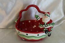2007 Fitz & Floyd Stocking Stuffers Basket Christmas Candy Dish w/ Santa In Box