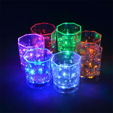LED Acrylic Water Induction Flashing Luminous Light-Up Octagon Cup For Beer Bar