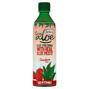 24 x Grace Say Aloe Vera Drink Strawberry Flavour 500ml Pop FREE DELIVERY