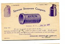 Vintage Advertising Postcard SYRACUSE STONEWARE CO NY 1897 jugs sewer pipe UX12
