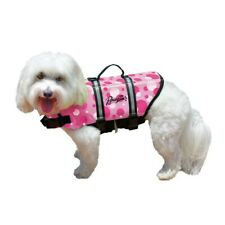 Pawz Pet Products Nylon Dog Life Jacket Pink Bubbles with Handle for Quick Lift