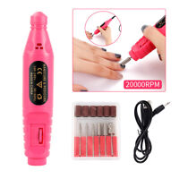 Rose Portable USB Nail Drill Bit Pen Set Manicure Pedicure Polishing Tool Kit